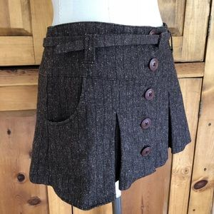 Guess Vintage Brown Button Mini Skirt with Belt
